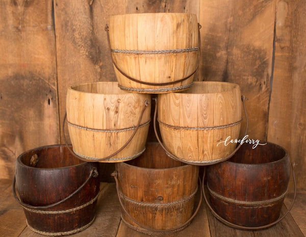 Vintage Wooden Water Bucket *READY TO SHIP*