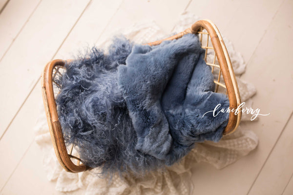 Deep Blue Sea Sheepskin & Rabbit Fur