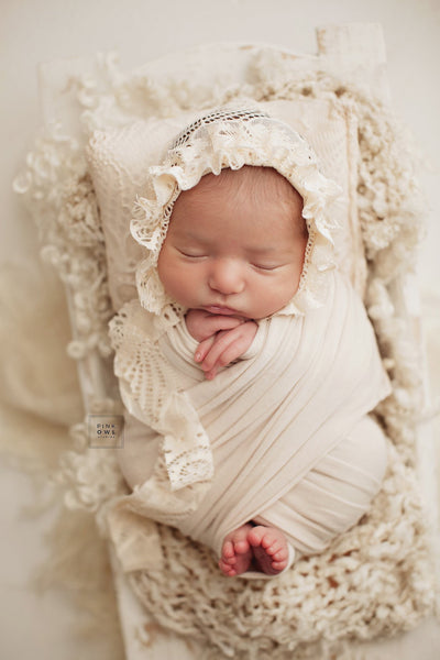 Carolina Cream Ruffled Bonnet and Pillow
