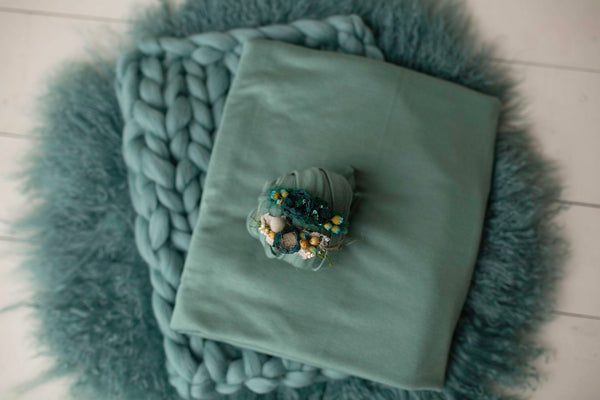 Teal Sheepskin Set