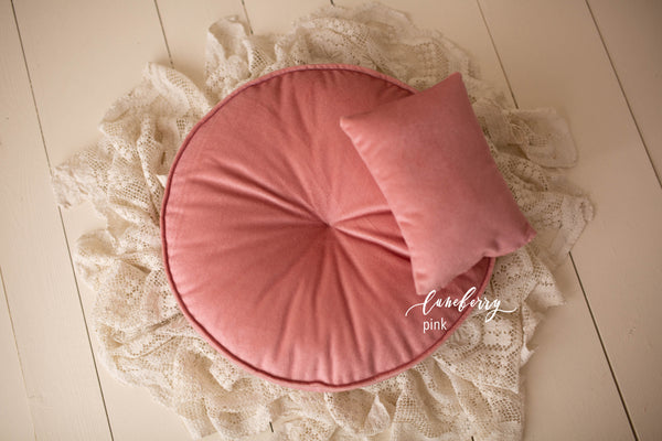 Round Velvet Bed Mattress Set
