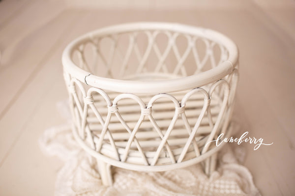 Cream Bamboo Round Basket