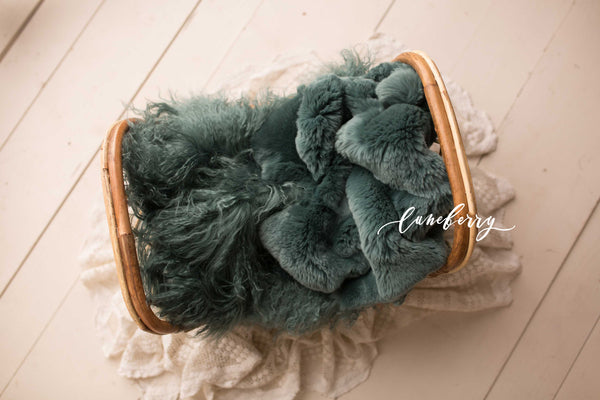 Dark Teal Sheepskin & Rabbit Fur