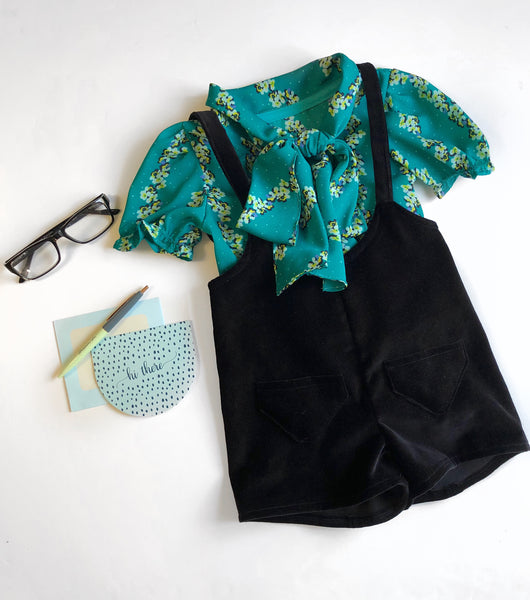 Teal Tie-Collar Blouse