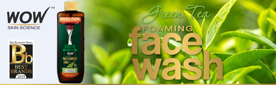 WOW Skin Science Green Tea Foaming Face Wash with the Refill Pack