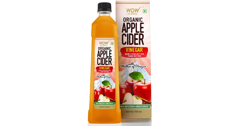 WOW Life Science Organic Apple Cider Vinegar - With Strand Of Mother - Not From Concentrate - 750 Ml