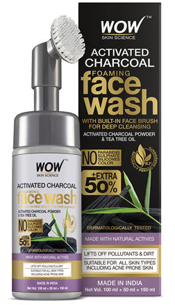 WOW Skin Science Activated Charcoal Foaming Face Wash with Built-In Face