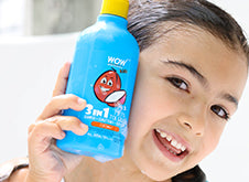 WOW Skin Science Kids Coconut 3 in 1 Tip to Toe Wash - Shampoo + Conditioner + Bodywash step1