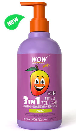 WOW Skin Science Kids Mango 3 in 1 Tip to Toe Wash - Shampoo + Conditioner + Bodywash