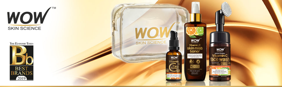 WOW Skin Science Radiance Booster Travel Essentials With Vitamin C Serum + Vitamin C Mist Toner + Vitamin C Foaming Face Wash with Face Brush