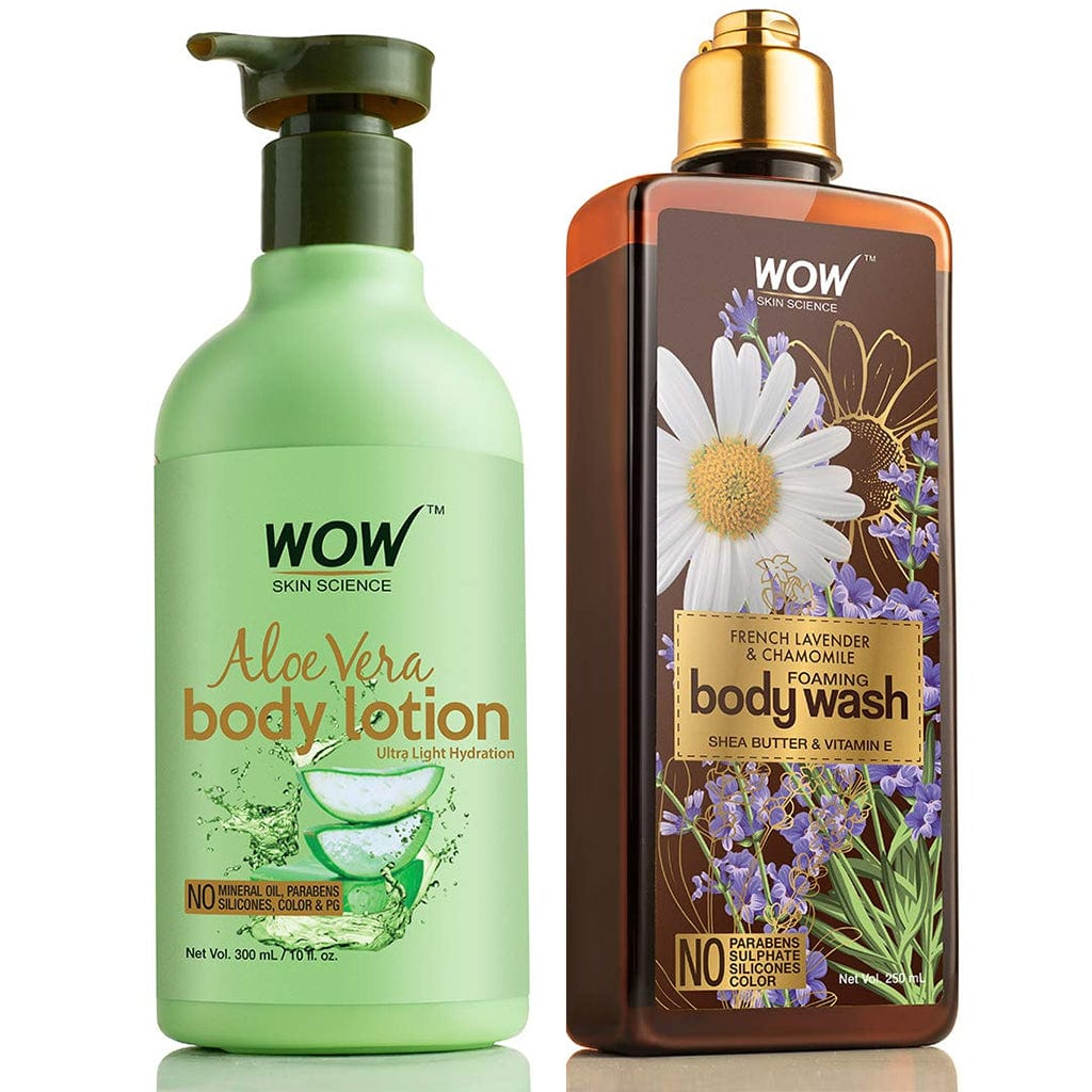 WOW Skin Science Aloe Vera Daily Body Lotion + French Lavender & Chamomile Foaming Body Wash