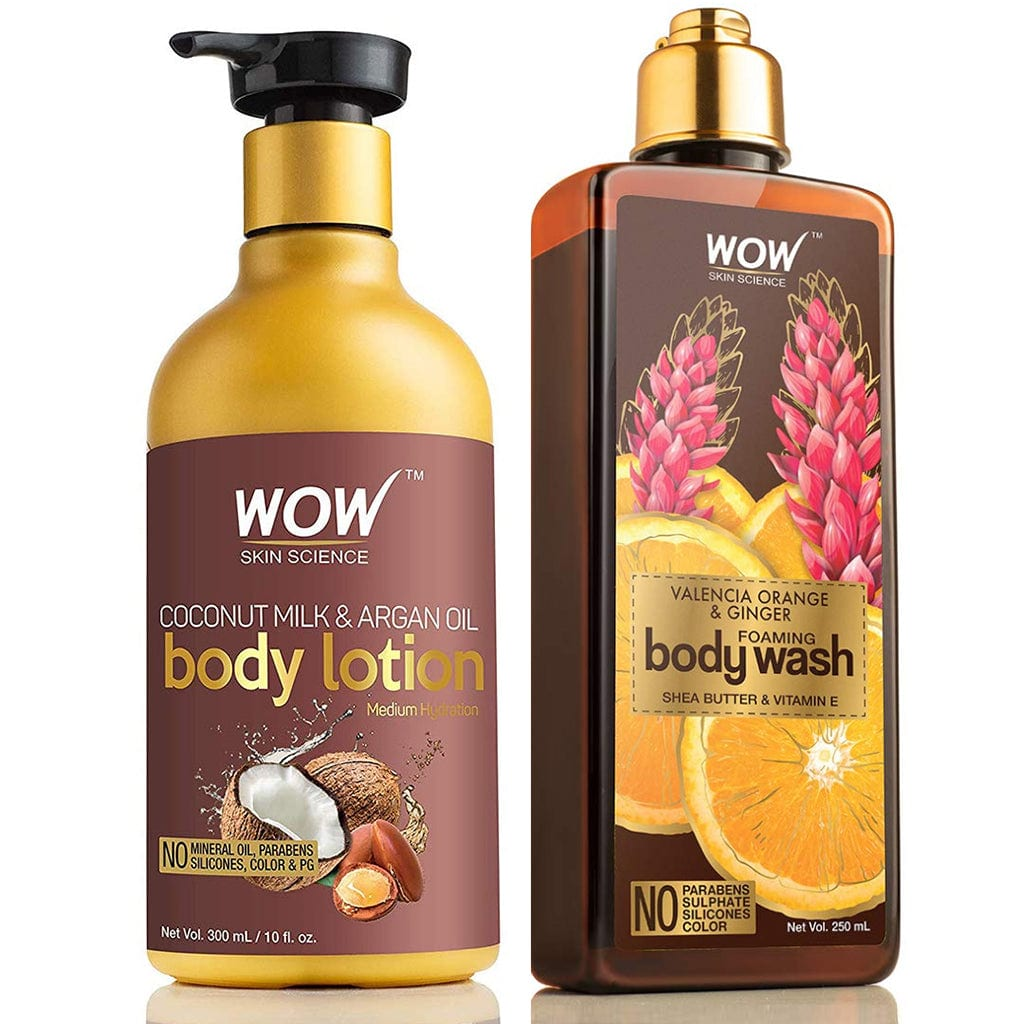 WOW Skin Science Coconut Milk And Argan Oil Body Lotion + Valencia Orange & Ginger Foaming Body Wash