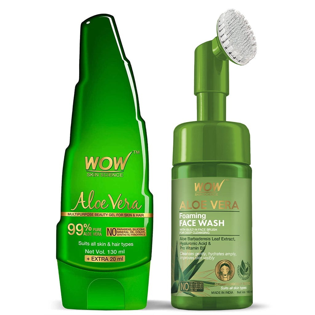WOW Skin Science Aloe Vera Multipurpose Beauty Gel + Aloe Vera Hydrating Gentle Face Wash Gel With Built-In Face Brush