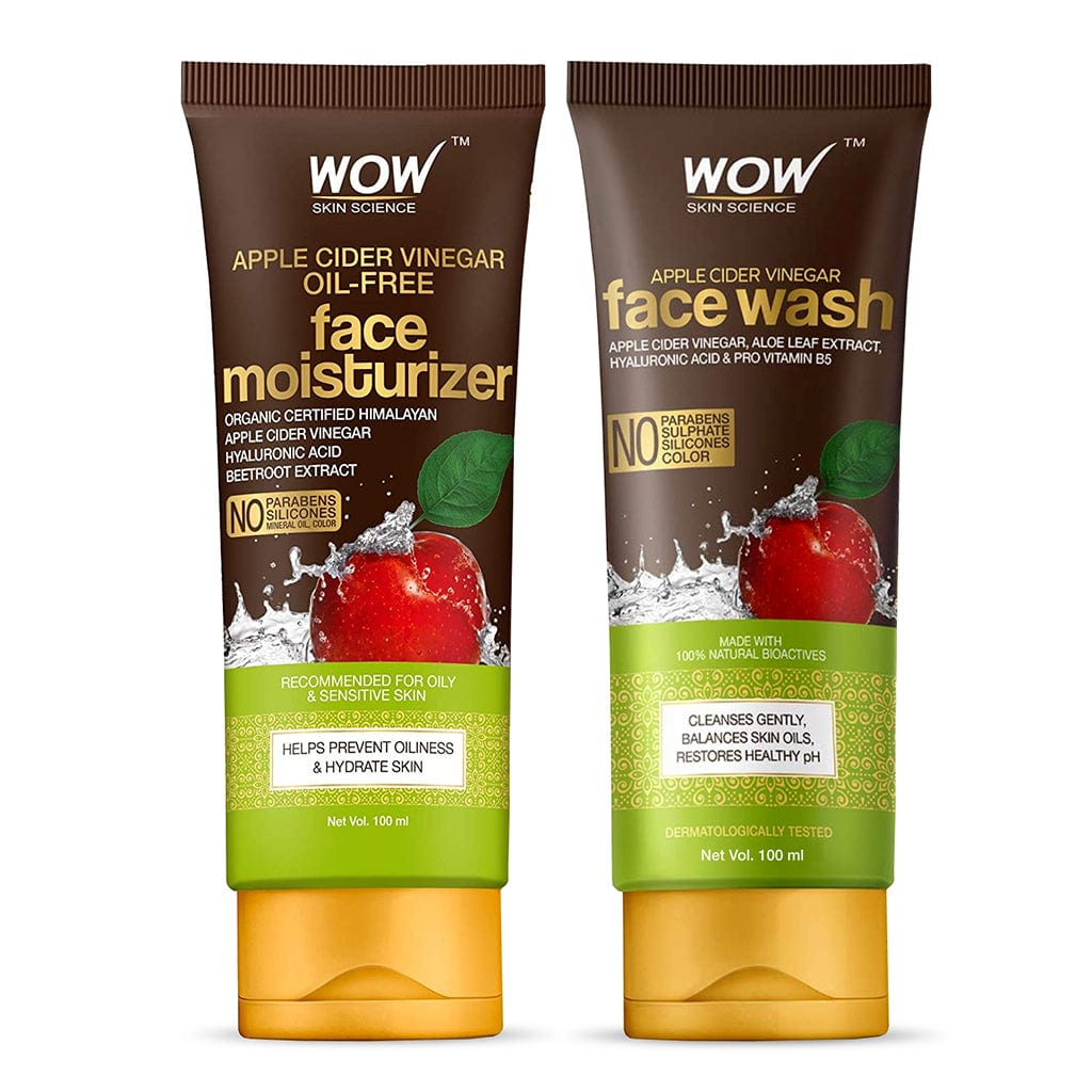 WOW Skin Science Apple Cider Vinegar Face Moisturizer + Apple Cider Vinegar Face Wash - With Organic Certified Himalayan Apple Cider Vinegar