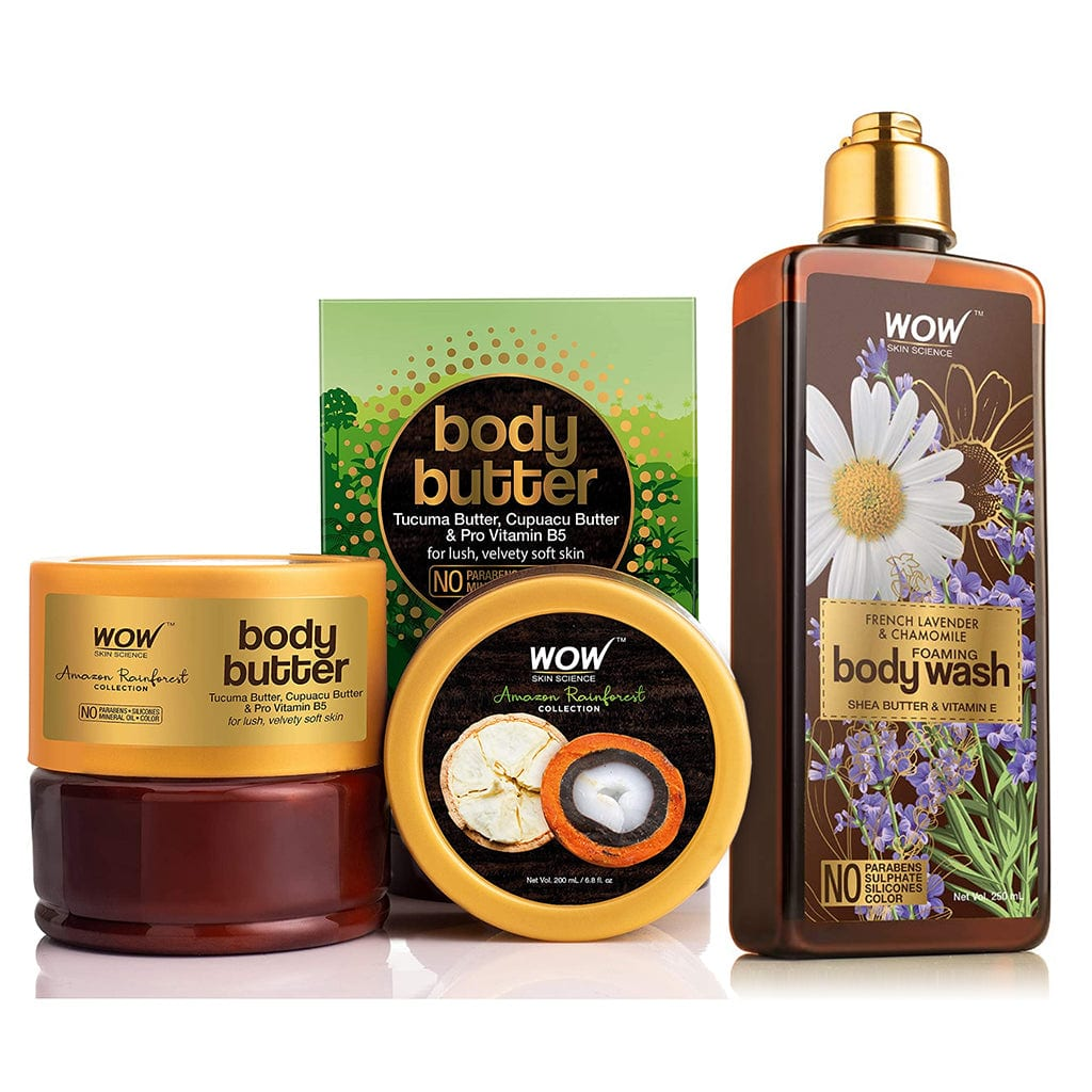 WOW Skin Science Amazon Rainforest Collection Body Butter With Tucuma And Cupuacu Butter + French Lavender & Chamomile Foaming Body Wash