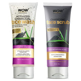 WOW Skin Science Activated Charcoal Skin Refining Kit - Face Scrub + Face Wash