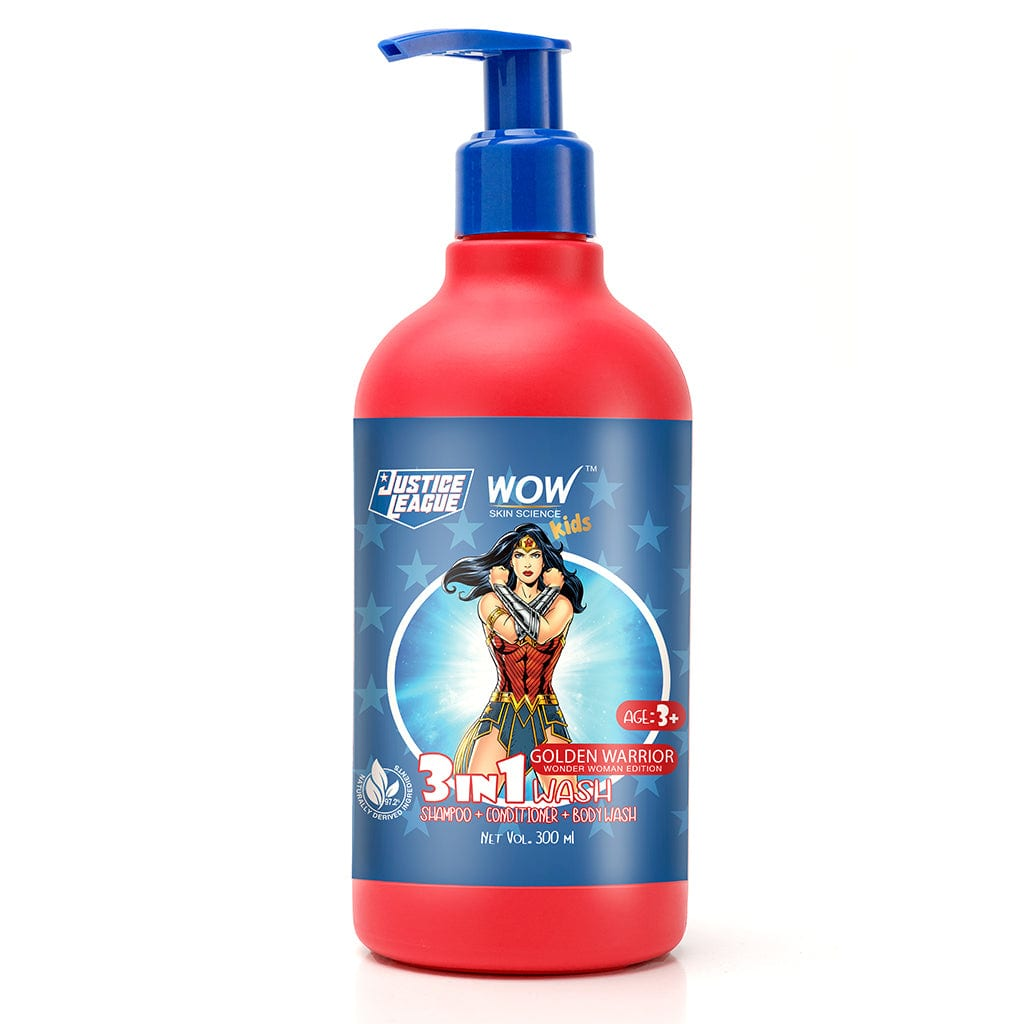 WOW Skin Science Kids 3 in 1 Wash - Shampoo + Conditioner + Body Wash - Golden Warrior Wonder Woman Edition - No Parabens, Color, Mineral Oil, Silicones & Sulphate - 300 ml - BuyWow