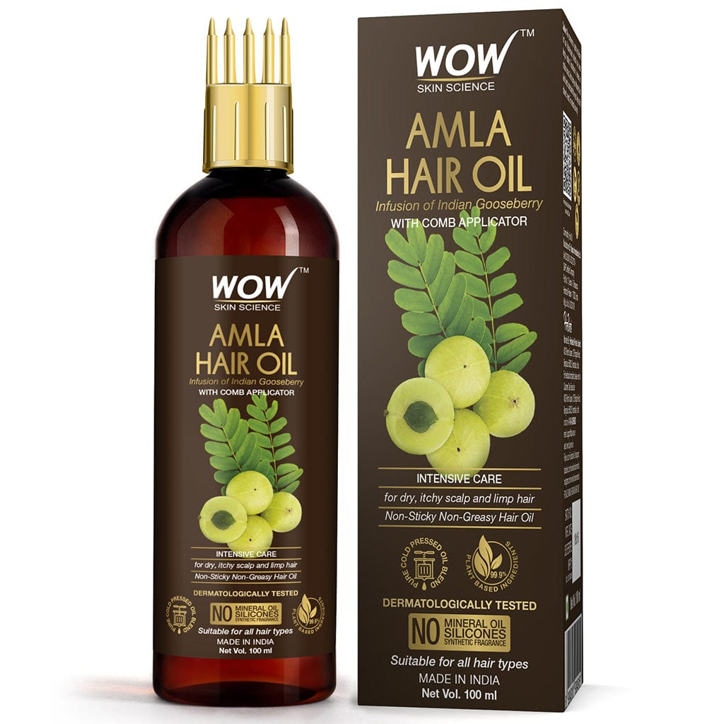 WOW Skin Science Amla Hair Oil - Pure Cold Pressed Indian Gooseberry Oil - Intensive Hair Care - with Comb Applicator - Non-Sticky & Non-Greasy - No Mineral Oil, Silicones, Synthetic Fragrance - 100 ml