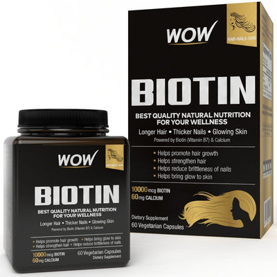 WOW Biotin, Maximum Strength Veg Capsule, 10,000mcg , 60 Count - BuyWow