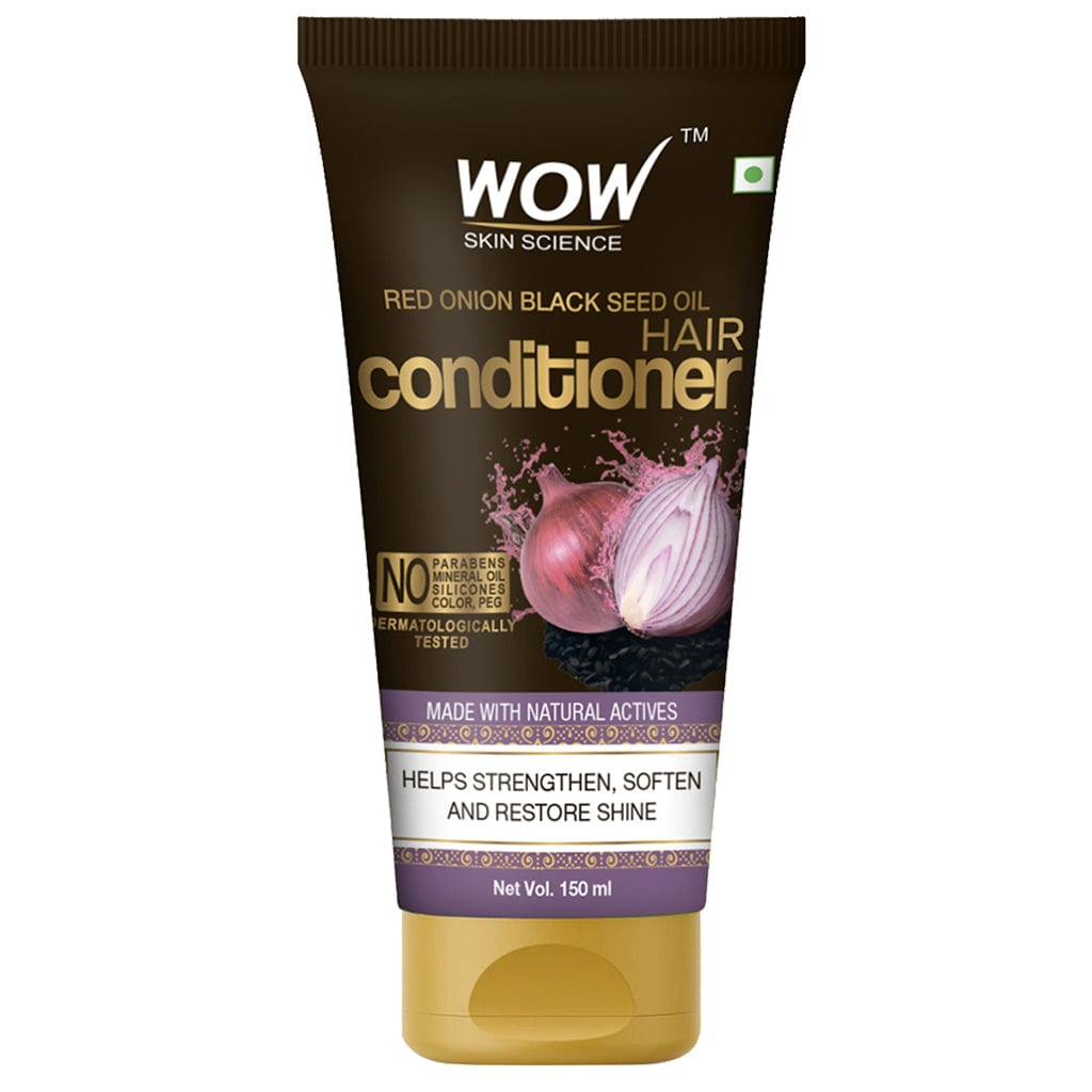 WOW Skin Science Red Onion Black Seed Oil Hair Conditioner with Red Onion Seed Oil Extract, Black Seed Oil & Hydrolyzed Wheat Protein - No Parabens, Mineral Oil, Silicones, Color & PEG - 150 ml - BuyWow