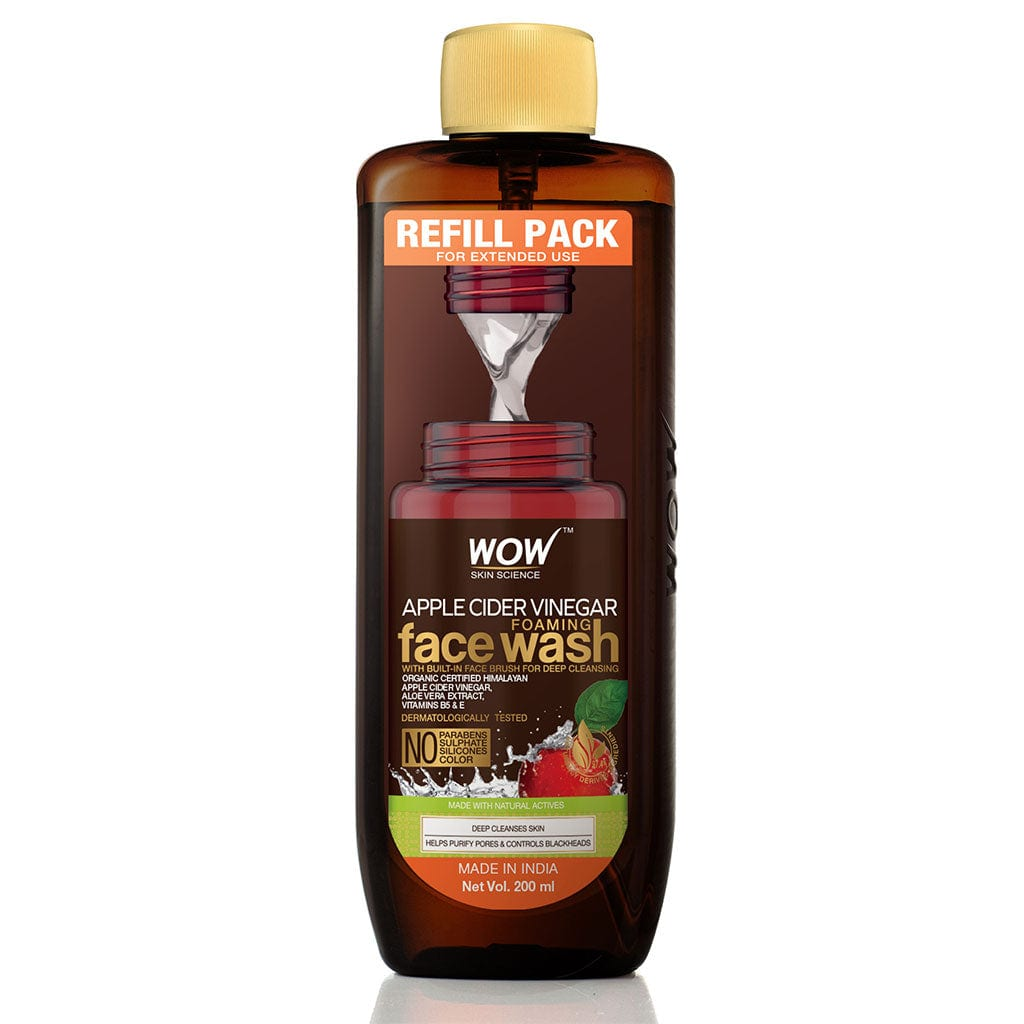 WOW Skin Science Apple Cider Vinegar Foaming Face Wash Save Earth Combo Pack- Consist of Foaming Face Wash with Built-In Brush & Refill Pack - No Parabens, Sulphate, Silicones & Color - Net Vol. 350 ml
