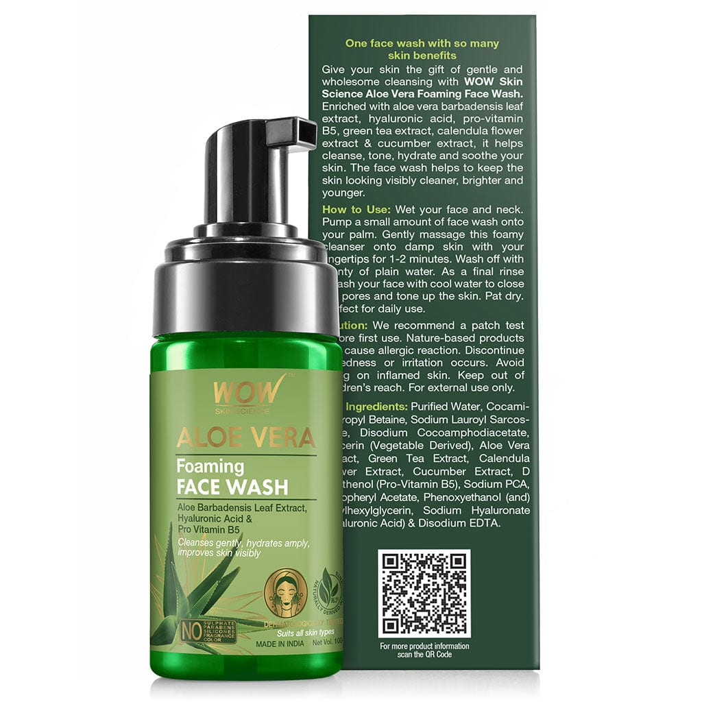 WOW Skin Science Aloe Vera Foaming Face Wash - with Aloe Vera Extract & Vitamin B5 - for Cleansing & Hydrating Skin - No Sulphate, Parabens, Silicones, Fragrance & Color - 100 ml