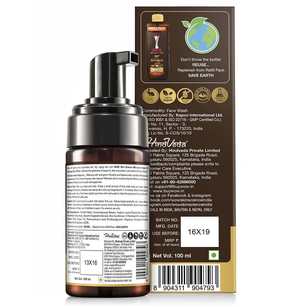 WOW Skin Science Moroccan Argan Oil Foaming Face Wash - contains Argan Oil & Aloe Extracts - for Dry to Normal Skin - No Parabens, Sulphate, Silicones & Synthetic Color - 100 ml