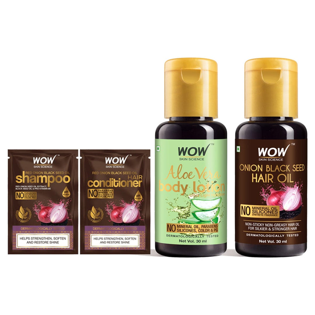 SAMPLER: WOW Skin Science Onion Hair Shampoo & Hair Conditioner + Aloe Vera Daily Body Lotion (Ultra Light) + Onion Black Seed Hair Oil - Net Vol - 70 ml