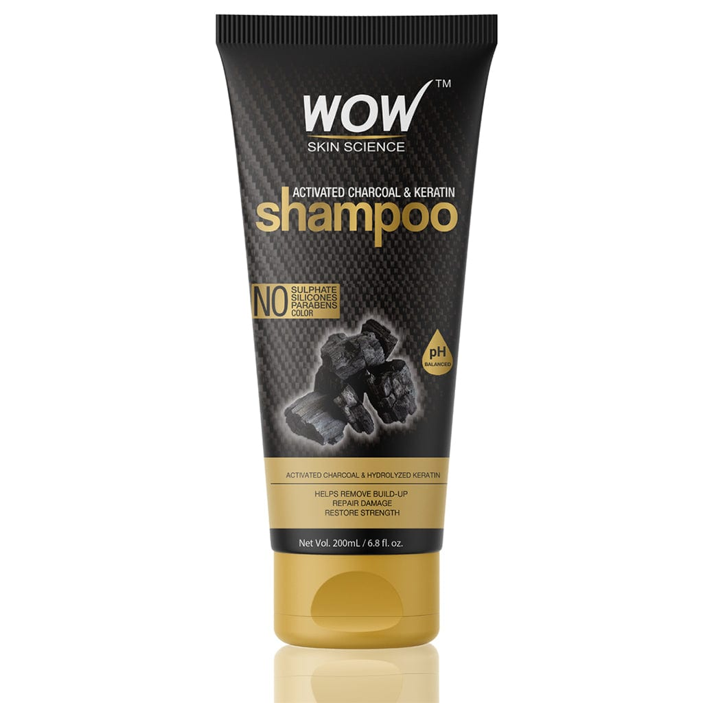 WOW Skin Science Charcoal & Keratin Shampoo - No Sulphates, Parabens, Silicones, Salt & Color - 200 ml - BuyWow