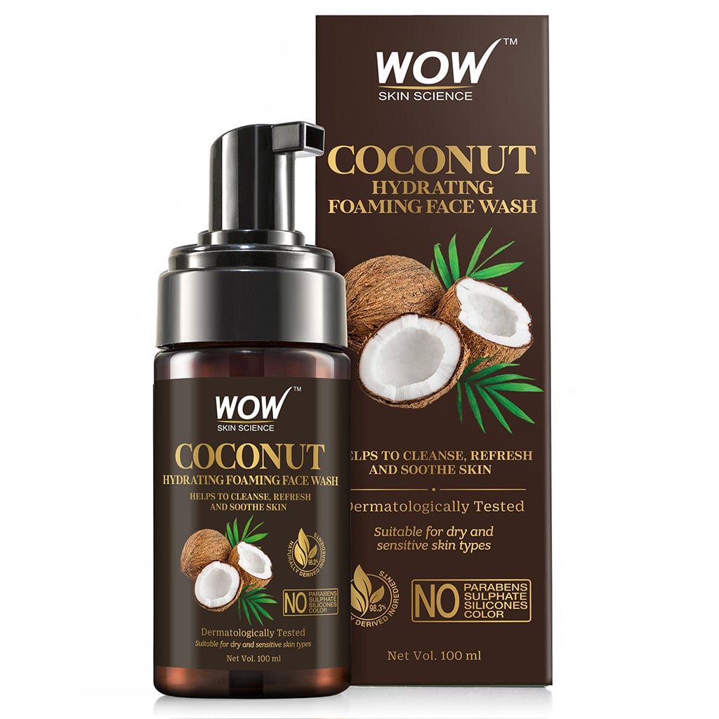 WOW Skin Science Coconut Hydrating Foaming Face Wash - with Coconut Water - For Cleansing, Soothing Skin - No Parabens, Sulphate, Silicones & Color - 100 ml - BuyWow