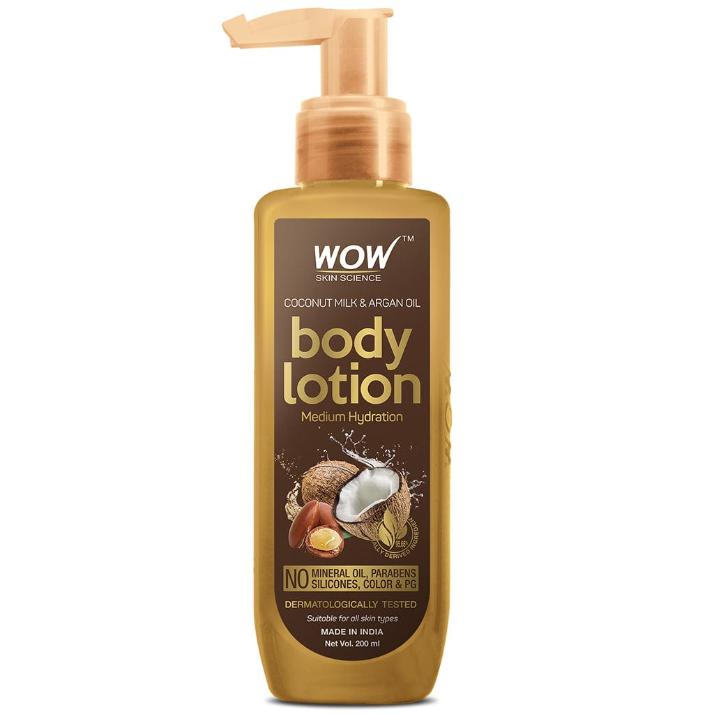 WOW Skin Science Coconut Milk and Argan Oil Body Lotion - Medium Hydration - No Mineral Oil, Parabens, Silicones, Color & PG - 200 ml