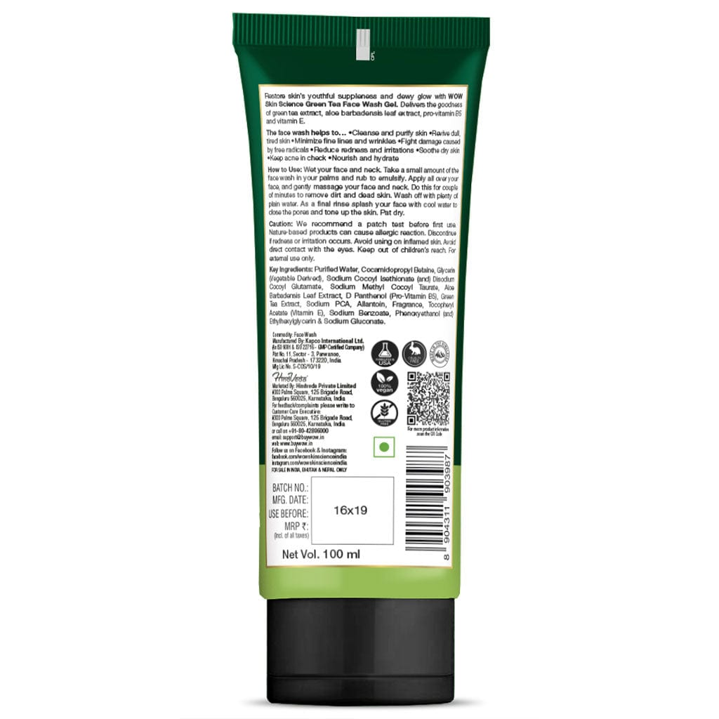 WOW Skin Science Green Tea Face Wash Gel - contains Green Tea, Aloe Leaf Extracts, Pro-Vitamin B5 & Vitamin E - for Purifying Skin - No Parabens, Sulphate, Silicones & Color - 100 ml