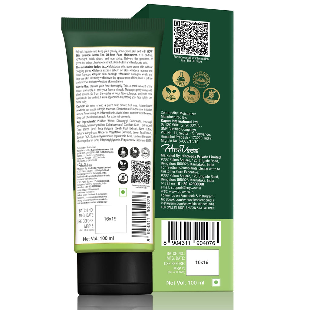 WOW Skin Science Green Tea Face Moisturizer - OIL FREE - Quick Absorbing - Non Sticky - contains Green Tea Extract - for Refining & Nourishing Skin - No Parabens, Silicones & Mineral Oil - 100 ml
