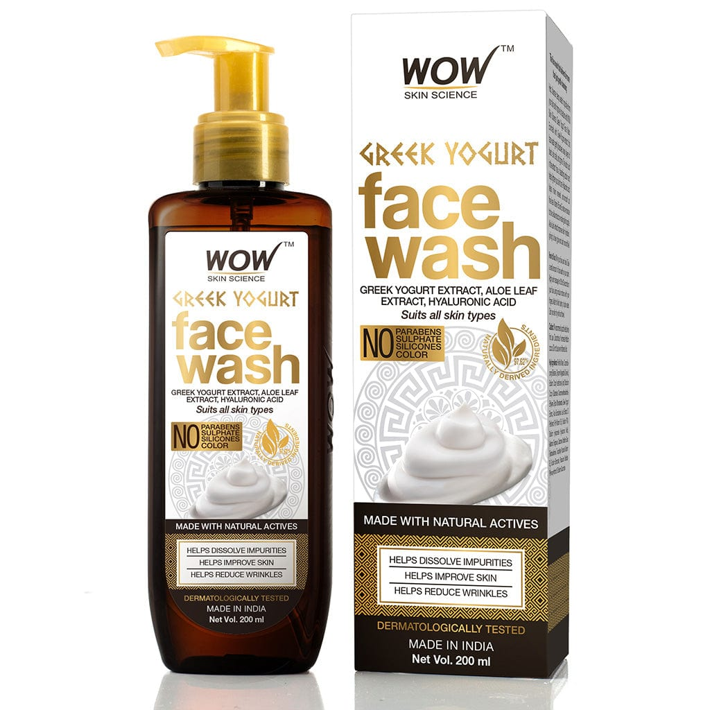 WOW Skin Science Greek Yoghurt Face Wash - with Greek Yoghurt & Aloe Leaf Extract, Hyaluronic Acid - For Improving Skin & Dissolving Impurities - No Parabens, Sulphate, Silicones & Color - 200 ml - BuyWow