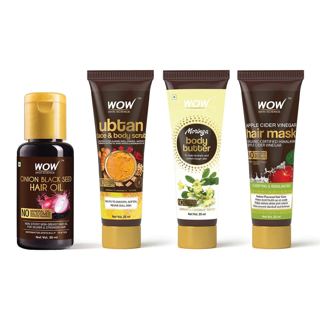 SAMPLER: WOW Skin Science Onion Black Seed Hair Oil + Ubtan Face & Body Scrub + Moringa Body Butter + Apple Cider Vinegar Hair Mask - Net Vol - 105 ml