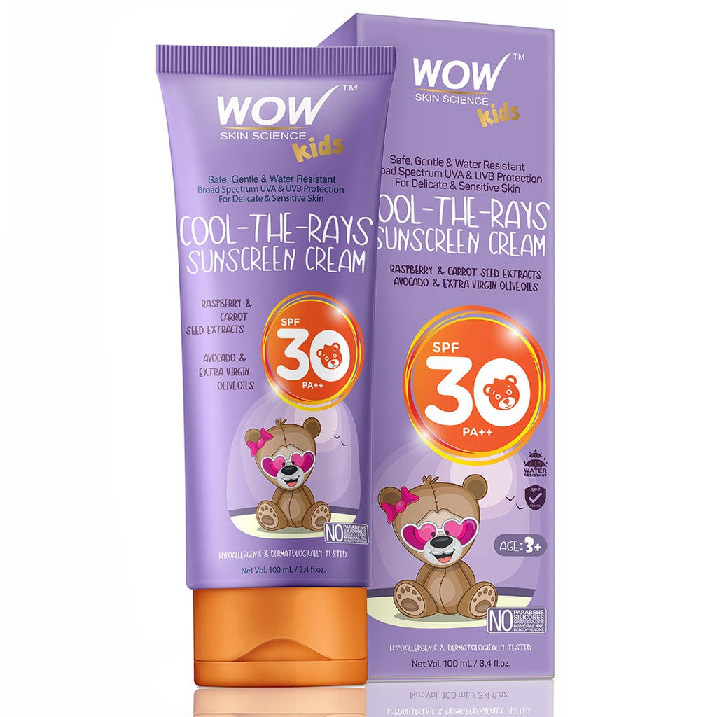 WOW Skin Science Kids Cool-The-Rays Sunscreen Cream Spf 30 Pa++ - No Parabens, Silicones, Oxide Color, Mineral Oil and Benzophenone - 100 ml - BuyWow