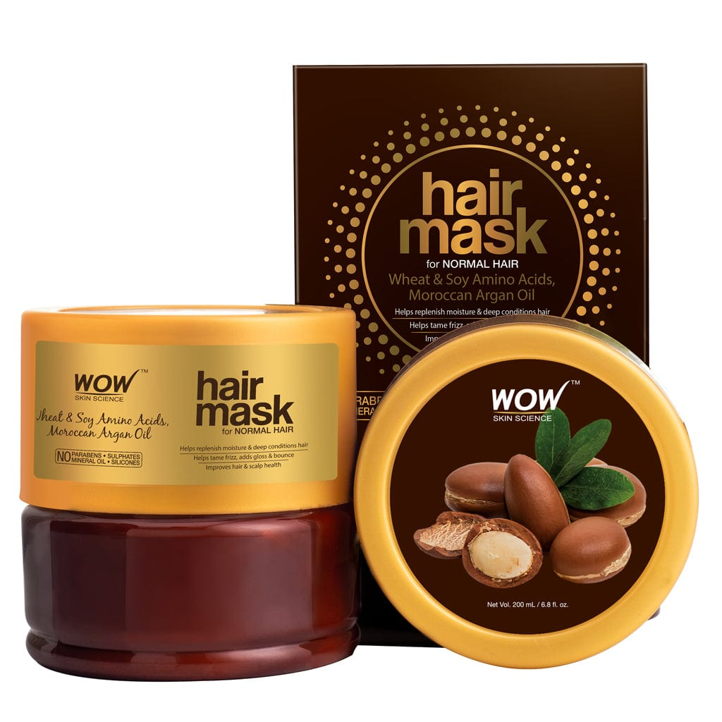 WOW Skin Science Wheat & Soy Amino Acids, Moroccan Argan Oil Hair Mask for Normal Hair - 200 ml