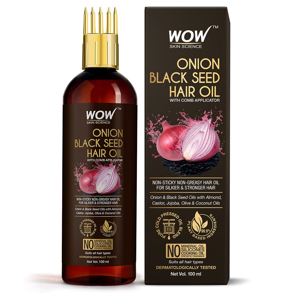 WOW Skin Science Onion Black Seed Hair Oil - WITH COMB APPLICATOR - Controls Hair Fall - NO Mineral Oil, Silicones, Cooking Oil & Synthetic Fragrance - 100 ml