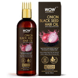 WOW Skin Science Onion Black Seed Hair Oil - WITH COMB APPLICATOR - Controls Hair Fall - NO Mineral Oil, Silicones, Cooking Oil & Synthetic Fragrance - 100mL