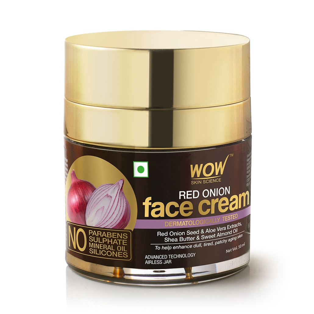 WOW Skin Science Red Onion Face Cream - Oil Free, Quick Absorbing - For All Skin Types - No Parabens, Silicones, Color, Mineral Oil & Synthetic Fragrance - 50 ml