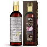 WOW Skin Science Onion Black Seed Hair Oil - WITH COMB APPLICATOR - Controls Hair Fall - NO Mineral Oil, Silicones, Cooking Oil & Synthetic Fragrance - 100 ml - BuyWow