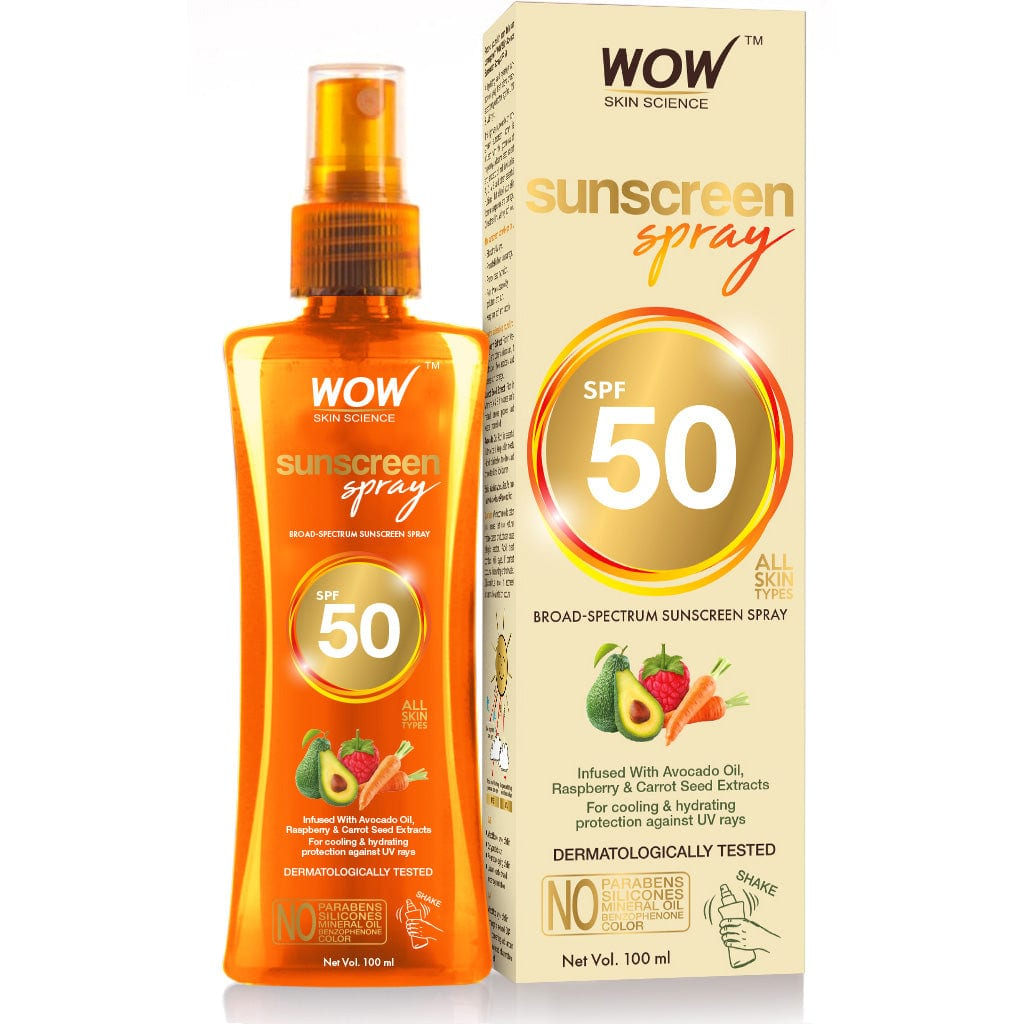 WOW Skin Science UV Water Transparent Sunscreen Spray SPF 50 - Quick Absorbing,Oil Free,Non Sticky-with Raspberry & Carrot Seed Extract-No Parabens, Silicones, Mineral Oil, Color & Benzophenone - 100 ml - BuyWow