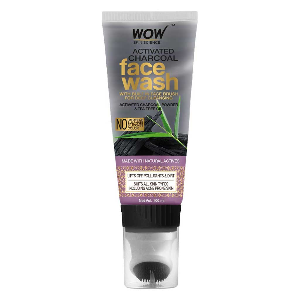 WOW Skin Science Activated Charcoal Face Wash Gel with Built-In Face Brush for Removing Impurities - No Parabens, Sulphate, Silicones & Color - Tube, 100 ml