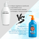 WOW Skin Science Kids Peach 3 in 1 Tip to Toe Wash - Shampoo+Conditioner + Bodywash-300mL - BuyWow