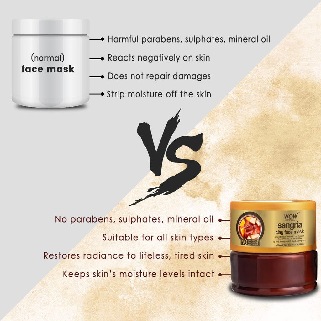 WOW Skin Science Sangria Face Mask for Energizing Dull, Tired, Patchy Skin - For All Skin Types - No Parabens, Sulphate & Mineral Oil - 200 ml
