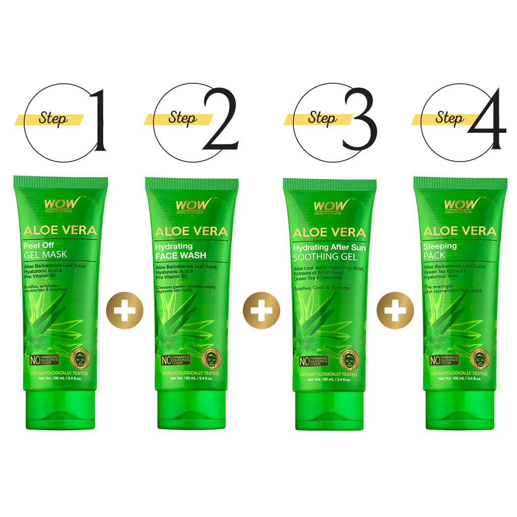 WOW Skin Science revitalizing Aloe Kit - Peel Off Gel Mask + Face Wash + Soothing Gel + Sleeping Pack - BuyWow