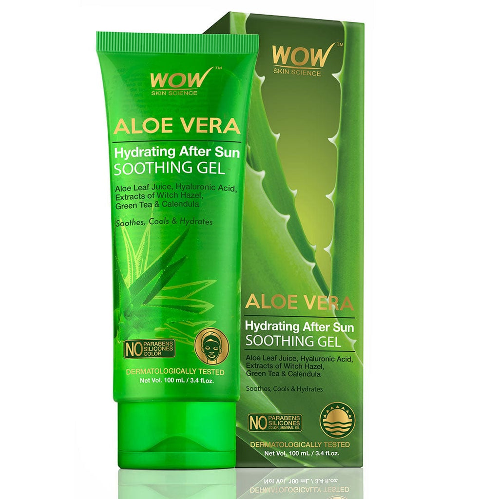 WOW Skin Science Aloe Vera with Hyaluronic Acid, Witch Hazel Extract, Green Tea & Calendula Hydrating After Sun Soothing Gel - No Parabens, Silicones & Color - 100 ml - BuyWow