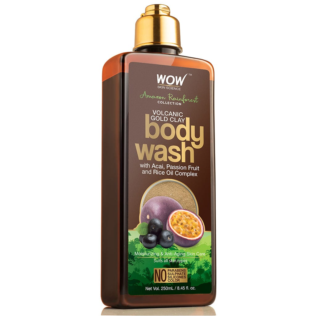 WOW Skin Science Amazon Rainforest Collection - Volcanic Gold Clay Shower Gel (With Acai, Passion Fruit and Rice Oil Complex) - No Parabens, Sulphate, Silicones and Color - 250 ml - BuyWow