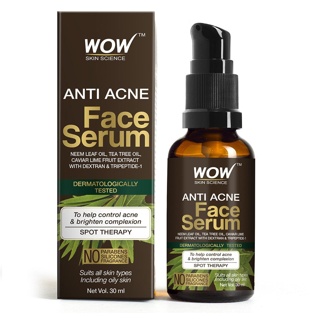 WOW Skin Science Anti Acne Face Serum - Natural Neem Leaf Oil, Tea Tree Oil, Caviar Lime Fruit Extract - Spot Therapy - No Parabens, Silicones & Fragrance - 30 ml