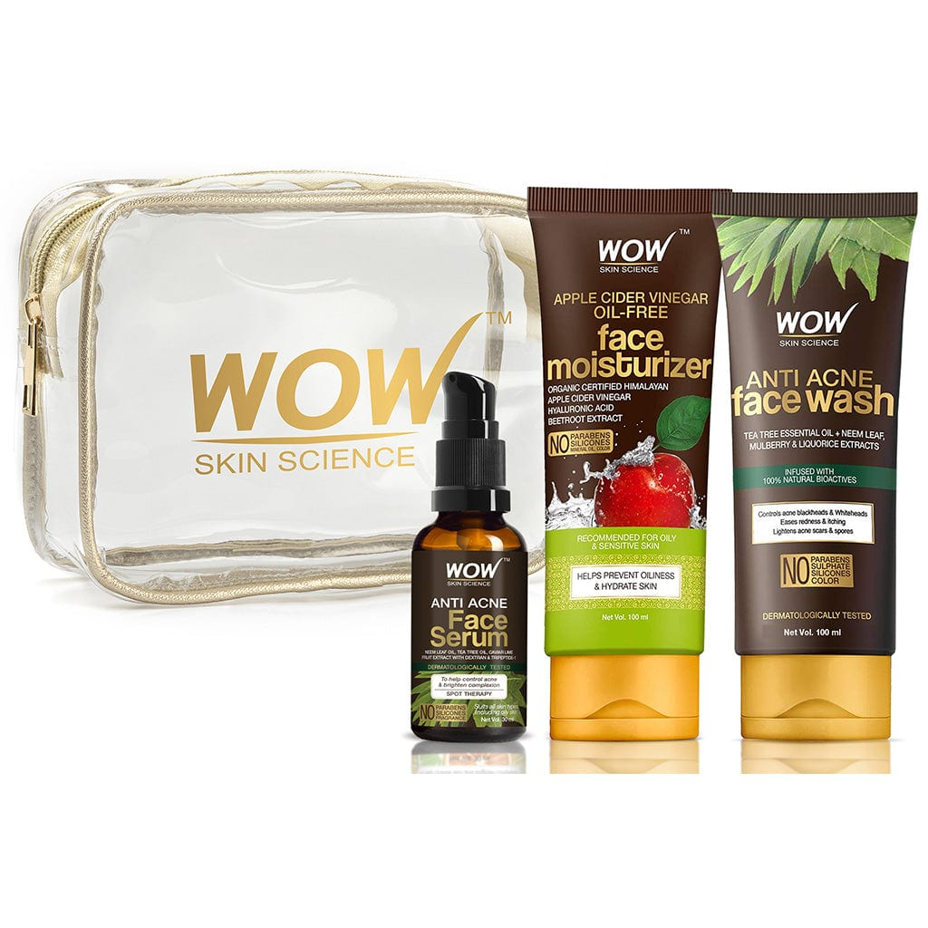 WOW Skin Science Pore Clarifier Travel Essentials  with Anti Acne Serum + Apple Cider Vinegar Moisturizer + Anti Acne Face wash Tube - 230 mL